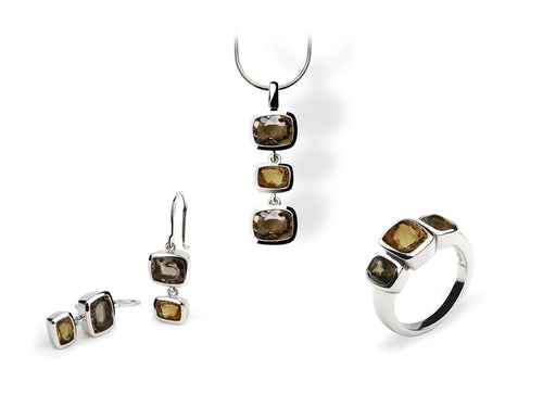 CONTEMPORARY CLASSIC SMOKEY & HONEY QUARTZ SET - Joryel Vera Jewelry