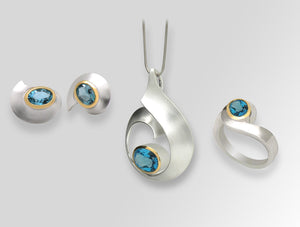 STERLING SILVER & GEMSTONE WAVE MOTIF SET