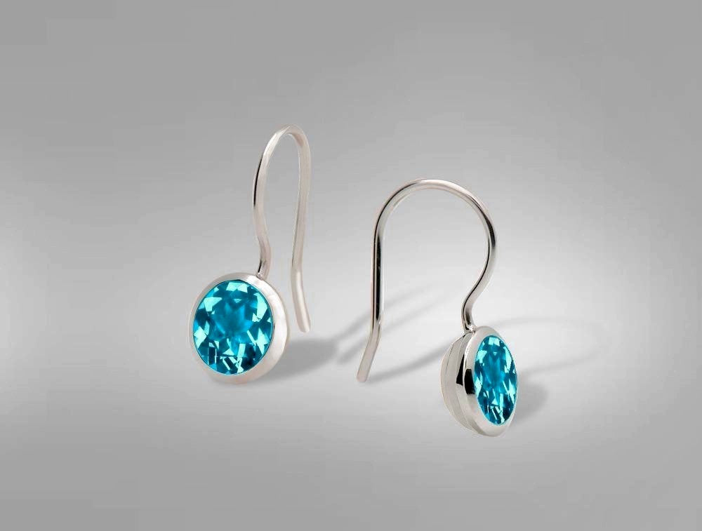 E3183 8 mm BEZEL SET BLUE TOPAZ EARRING - Joryel Vera Jewelry