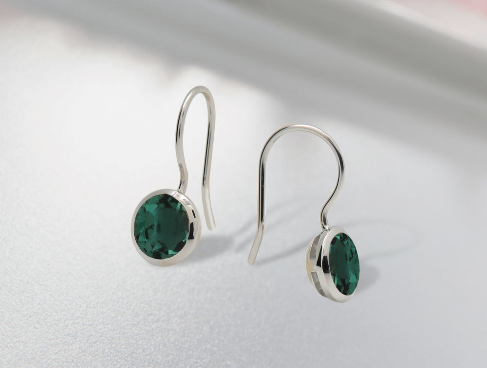 E3183 8mm GREEN QUARTZ EARRING - Joryel Vera Jewelry