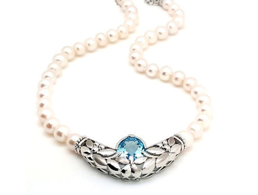 STRAND OF 9mm PEARLS w/ BLUE TOPAZ NECKLACE