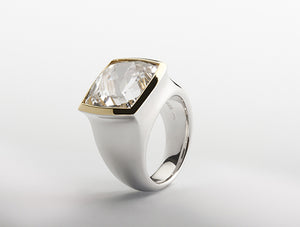 R4587 RING CLEAR ROCK QUARTZ