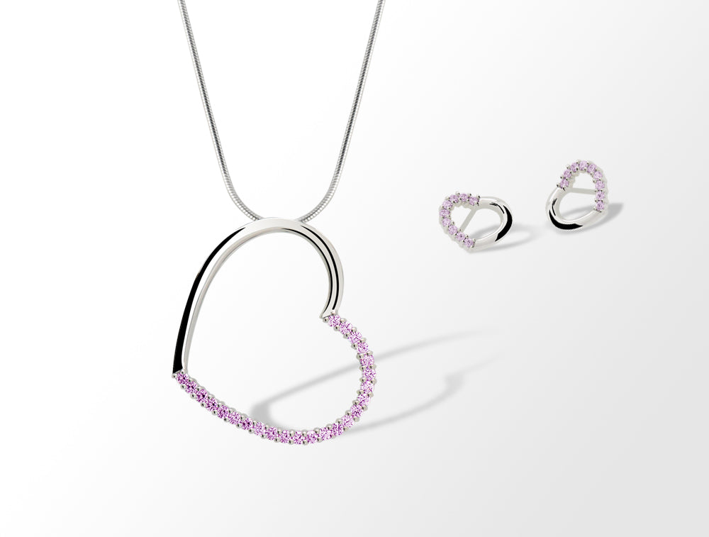 SWAROVSKI PINK COLOR HEART SET