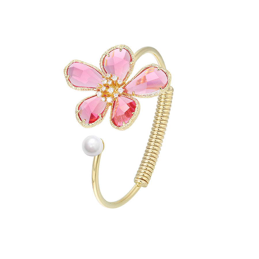 Luxe Cz Crystal Pink Flower 14K Gold Plated Bracelet