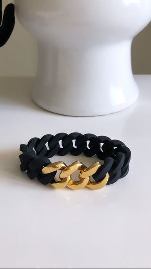 24K Gold Plated Link Chain Silicon Black Elastic Bracelet