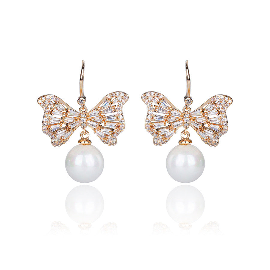 18K Gold Plated Pearl & CZ Diamond Bow Earring