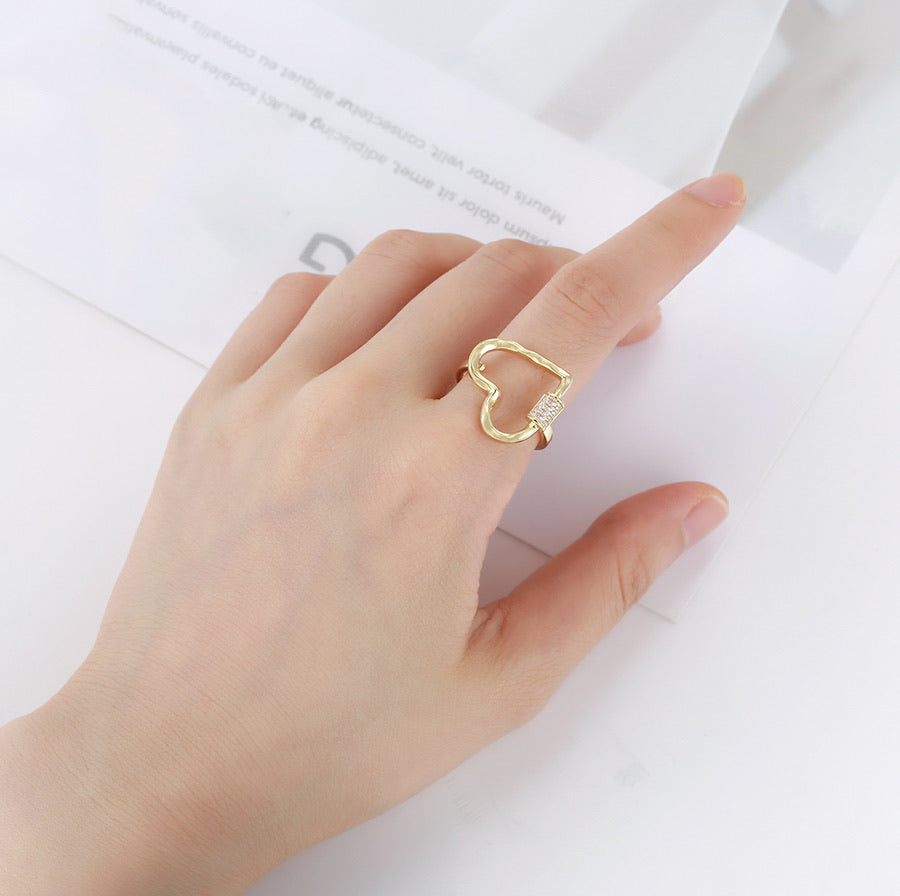 Simple 14K Gold Plated Heart Ring