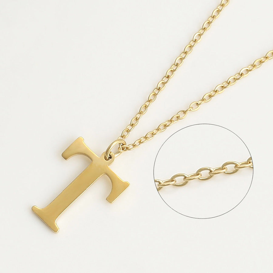 14K Gold Plated Initial T Necklace