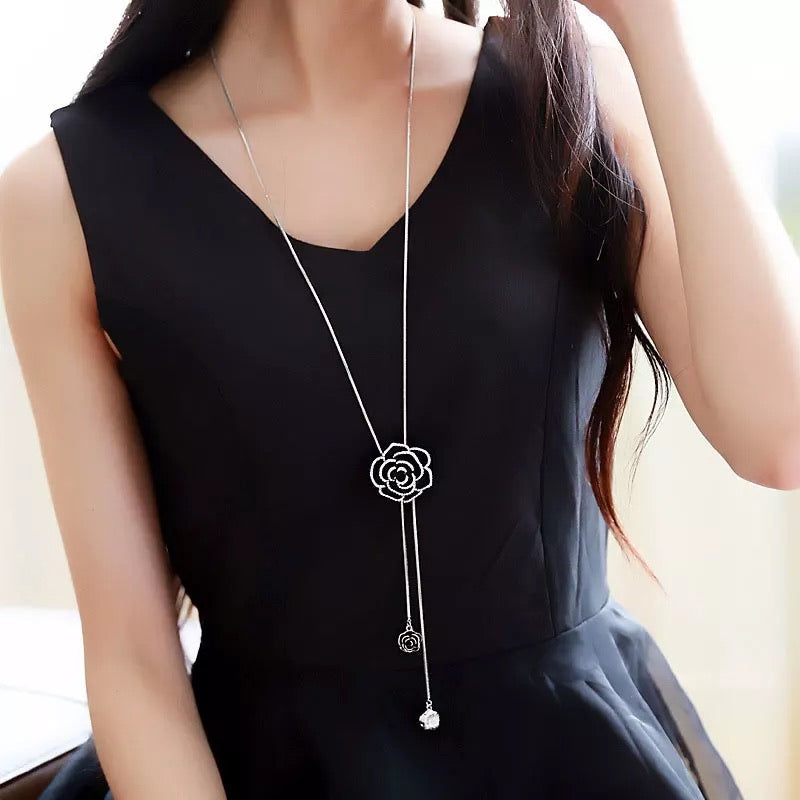 Elegant Black Rose Long Necklace