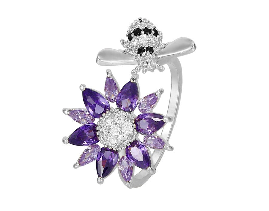 Fashion Swarovski Crystal Spinning Flower & Bee Ring