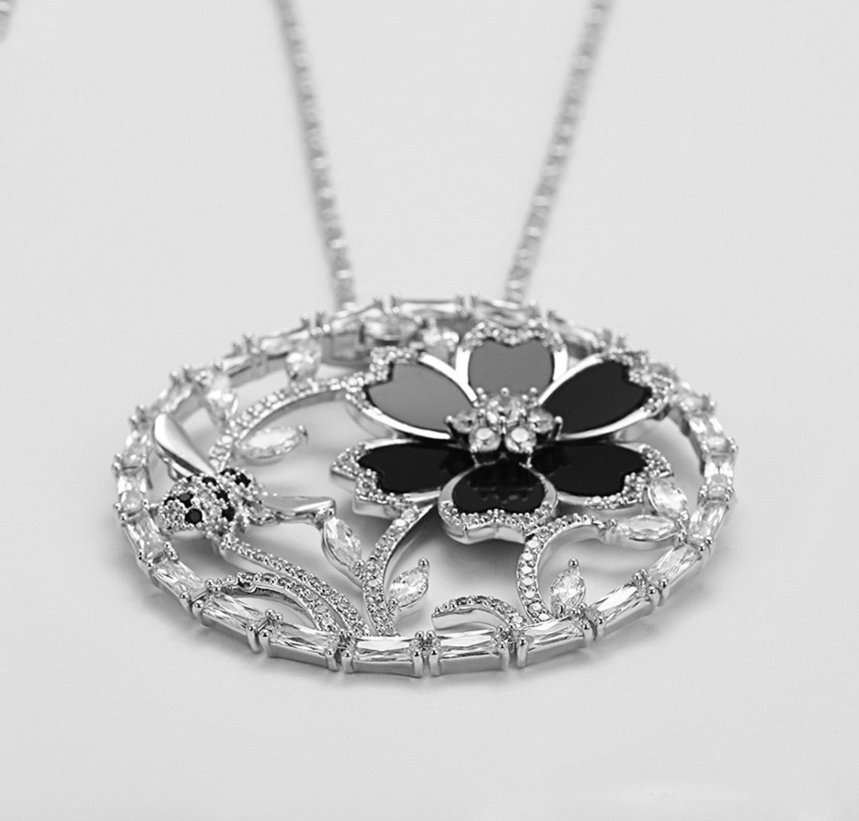 Rhodium plated Crystal Bee & Flower Necklace