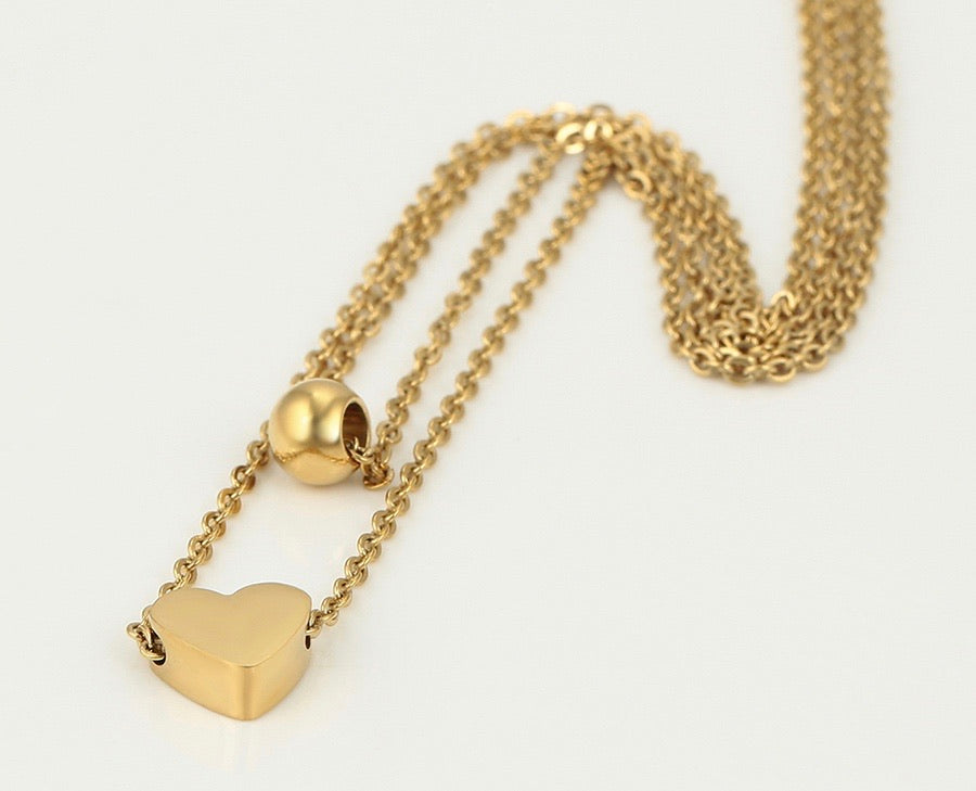 14K Gold Plated Heart Bracelet & Necklace Set