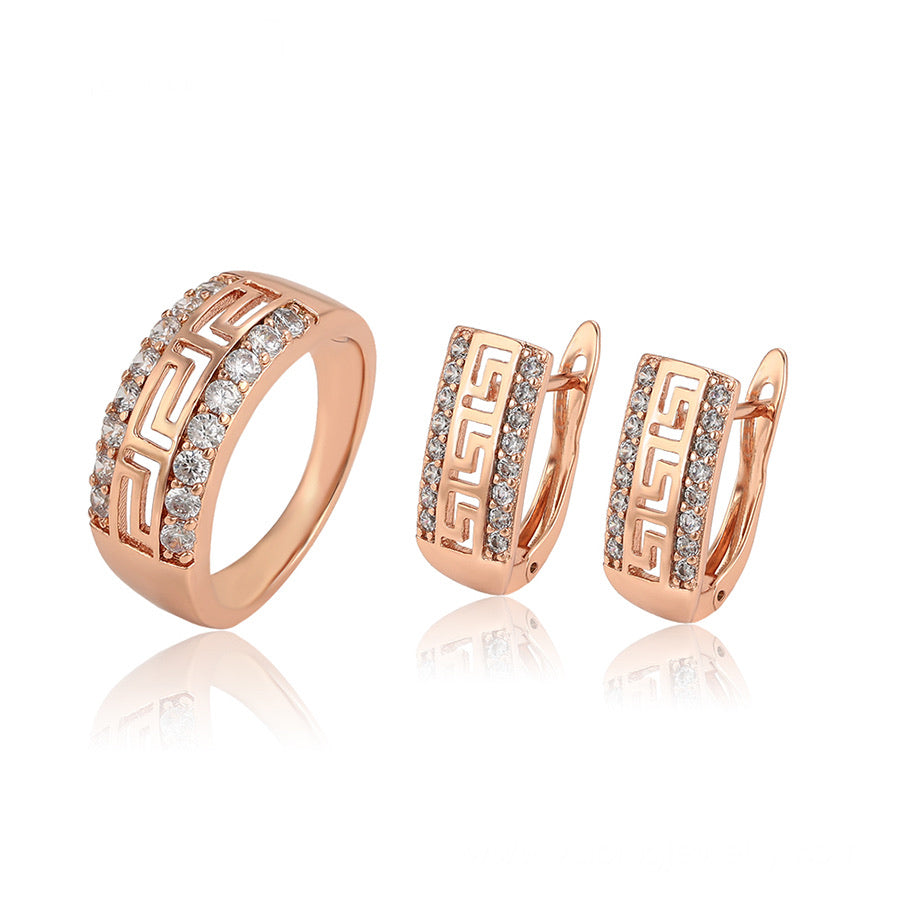 Rose Gold Plated CZ Diamond Greek Key Cut Set