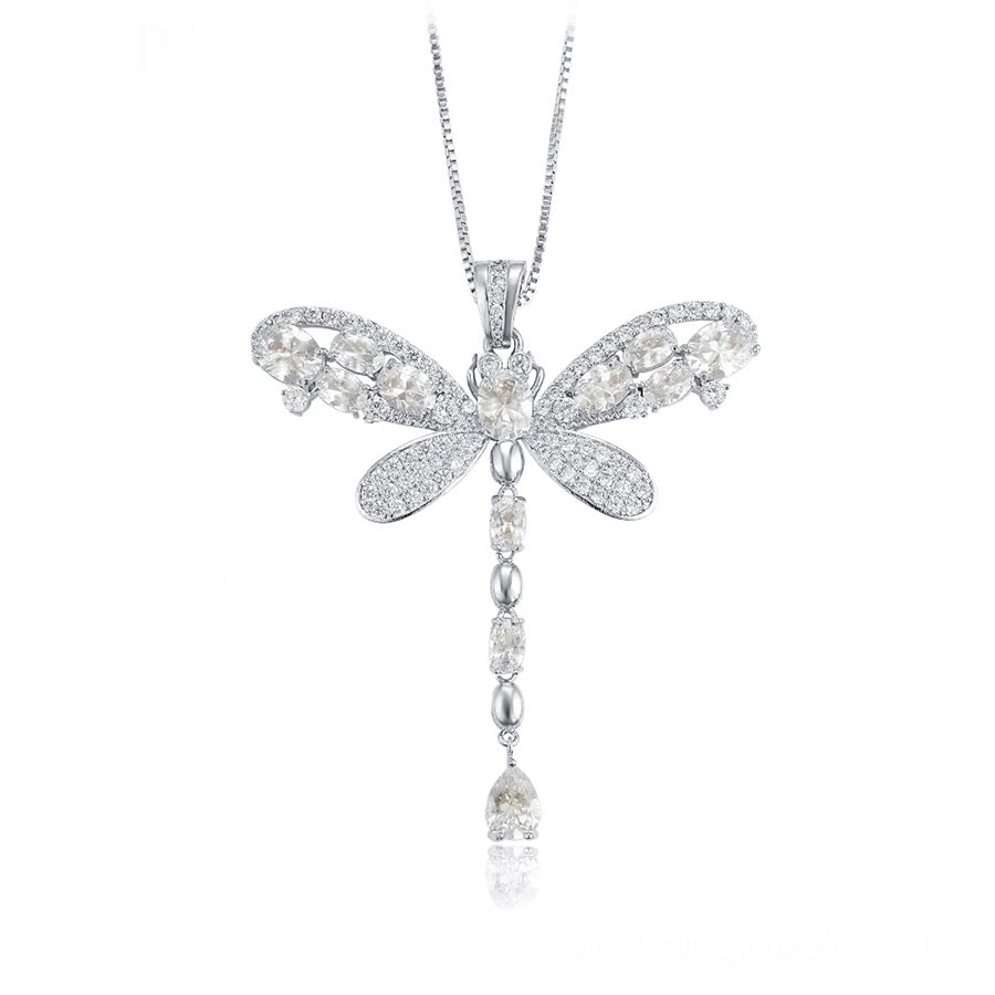 Rhodium Plated Butterfly Swarovski Crystal Necklace