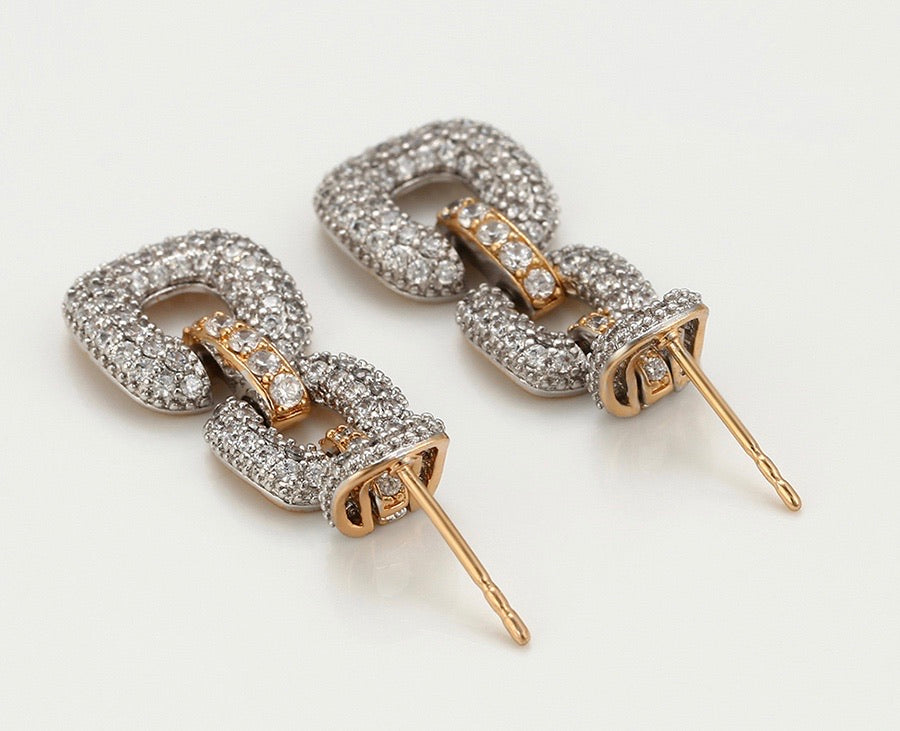 Gold Plated Diamond Chain Drop Earring