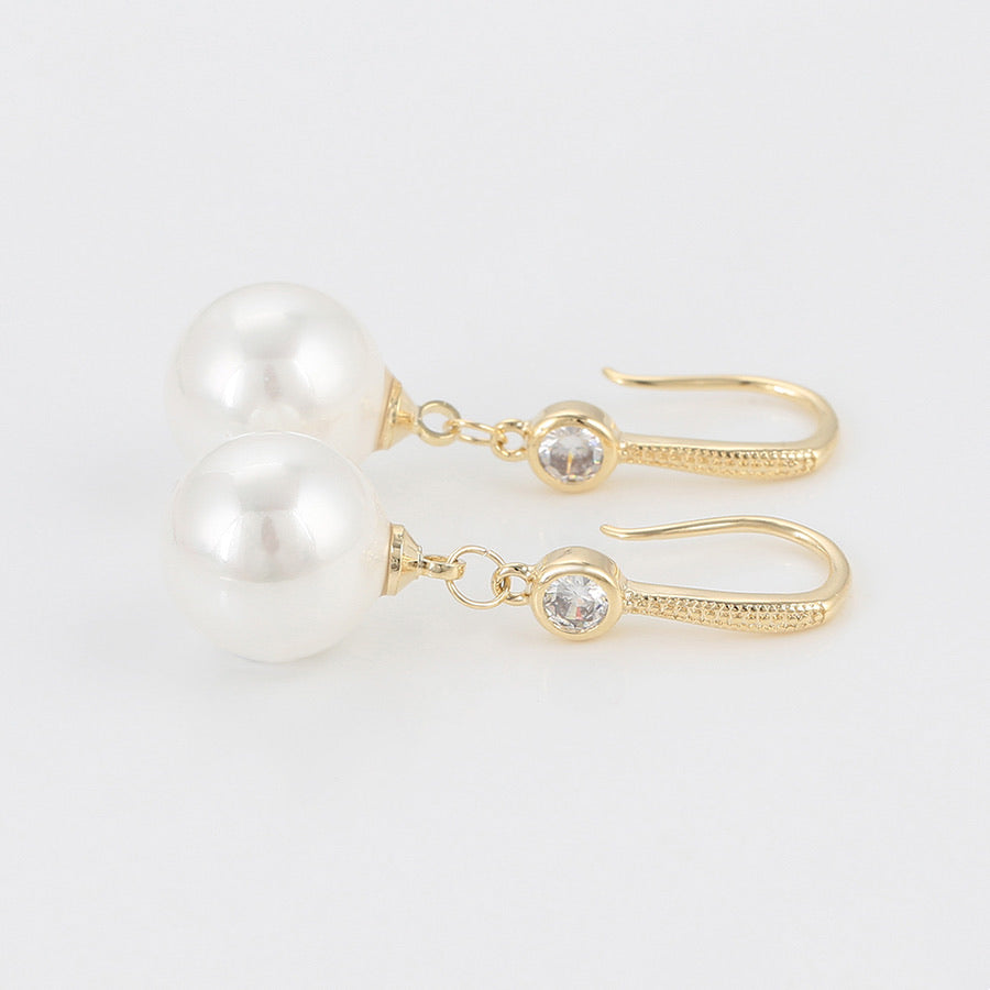 14K Gold Plated CZ Diamond Pearl Earring