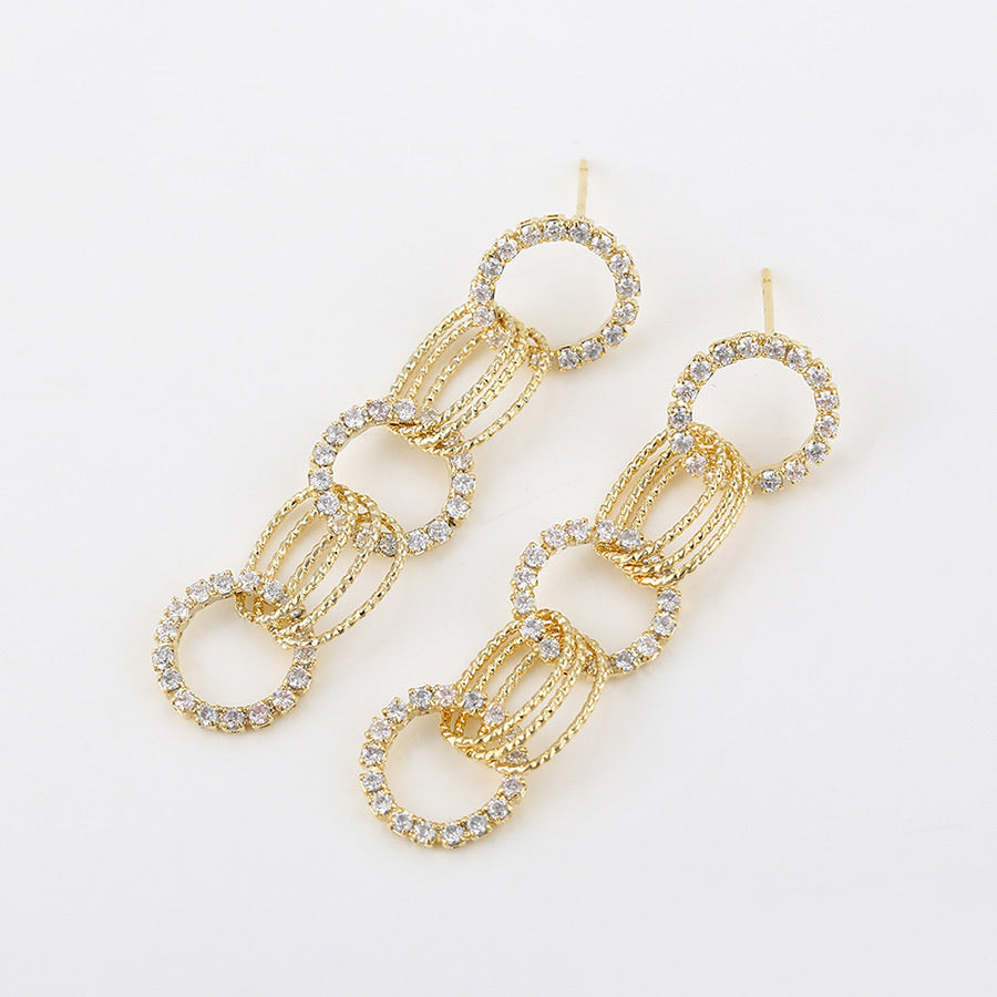 14k Gold Plated Cz Diamond Chain Drop Earring