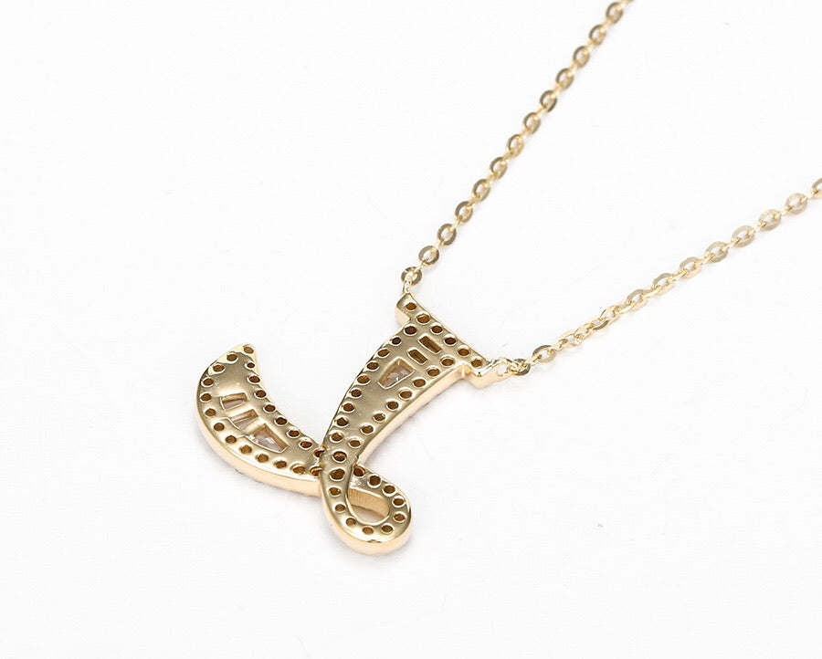 S925 Silver 14K Gold Plated Initial L Necklace
