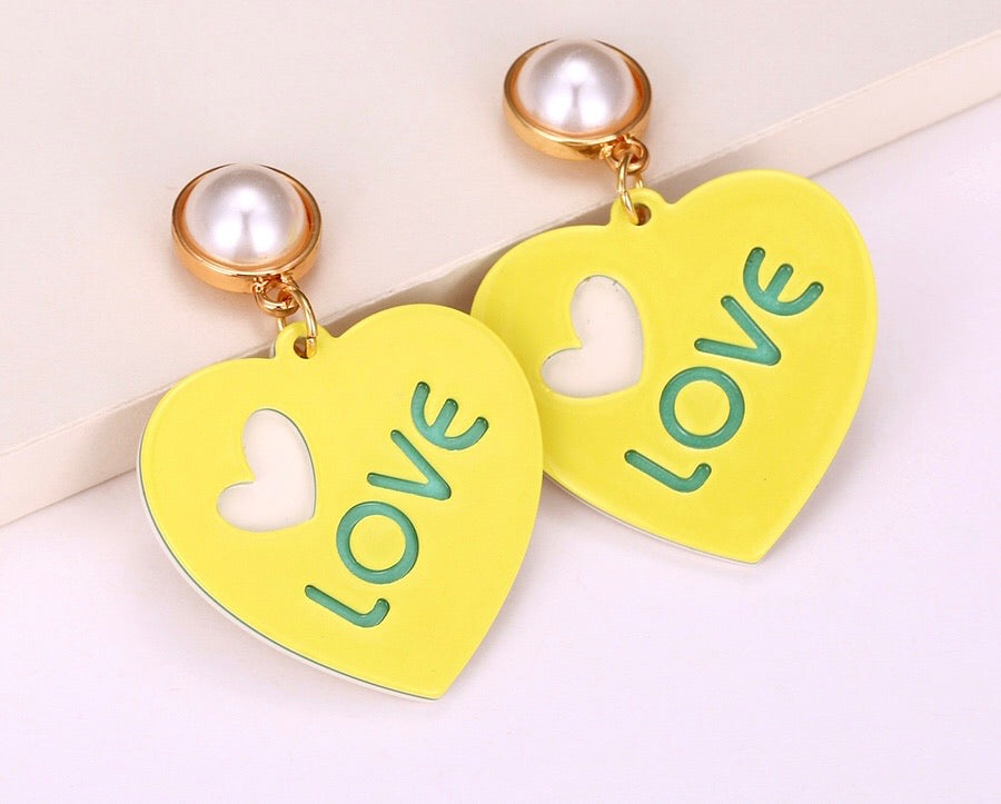 18K Gold Plated Alloy Heart & Love Earring