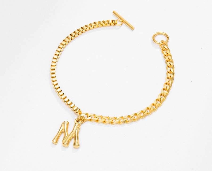 24K Gold Plated Initial M Bracelet