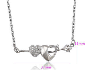 Rhodium Plated Flower & Heart Necklace