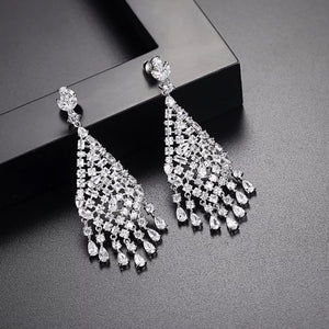 Geometric Cubic Zirconia Tear Drop Gangle Wedding Earring
