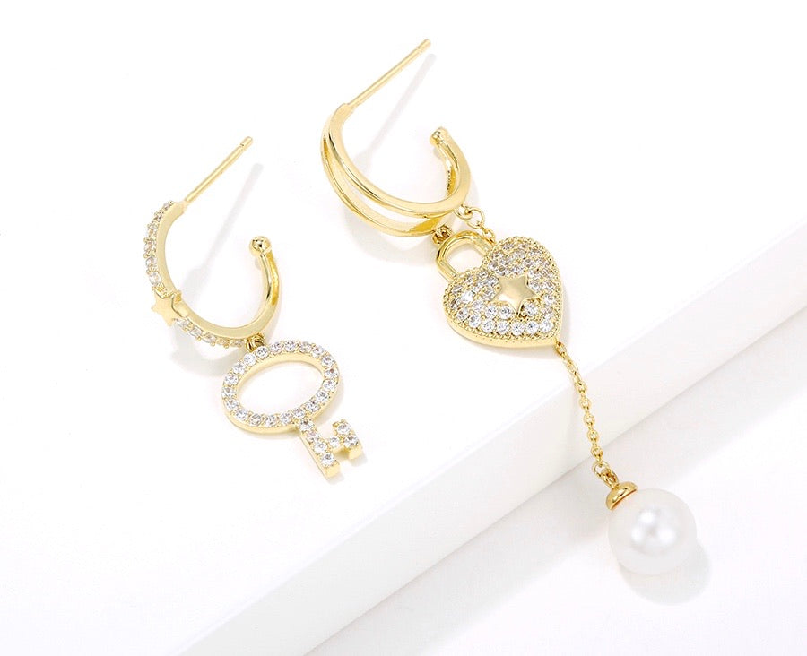 14K Gold Plated Heart & Key Earring