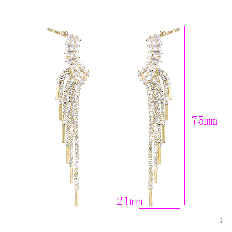 14K Gold Plated Full Cz Diamond Tassel Earring & Ear Cuff