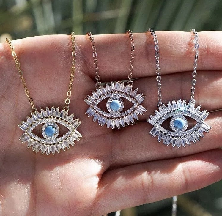 Gold Plated Turquoise Crystal Eye Necklace