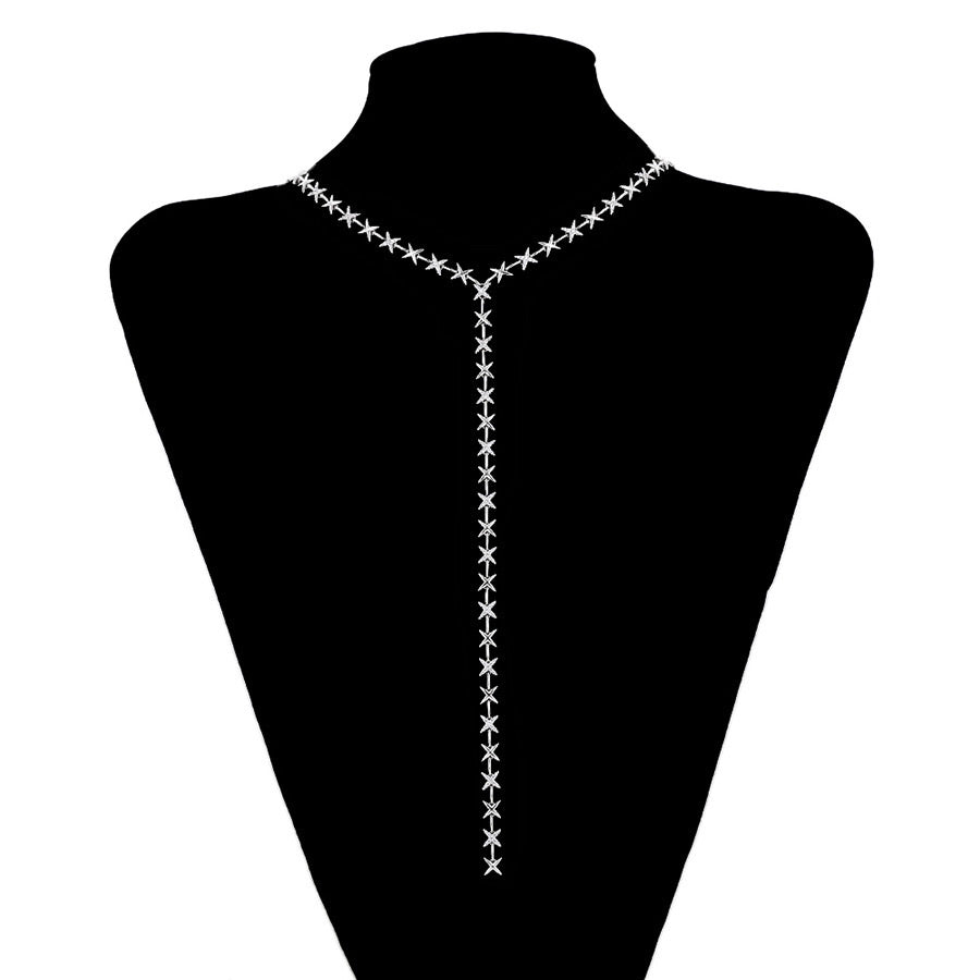 Elegant Diamond Star Necklace Adjustable Length