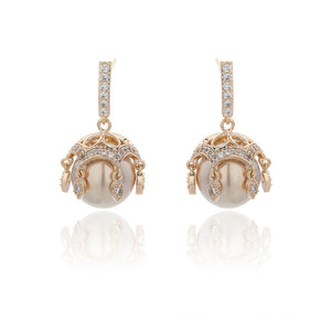 18k Gold Plated Cubic Zirconia Diamond & Pearl Earring