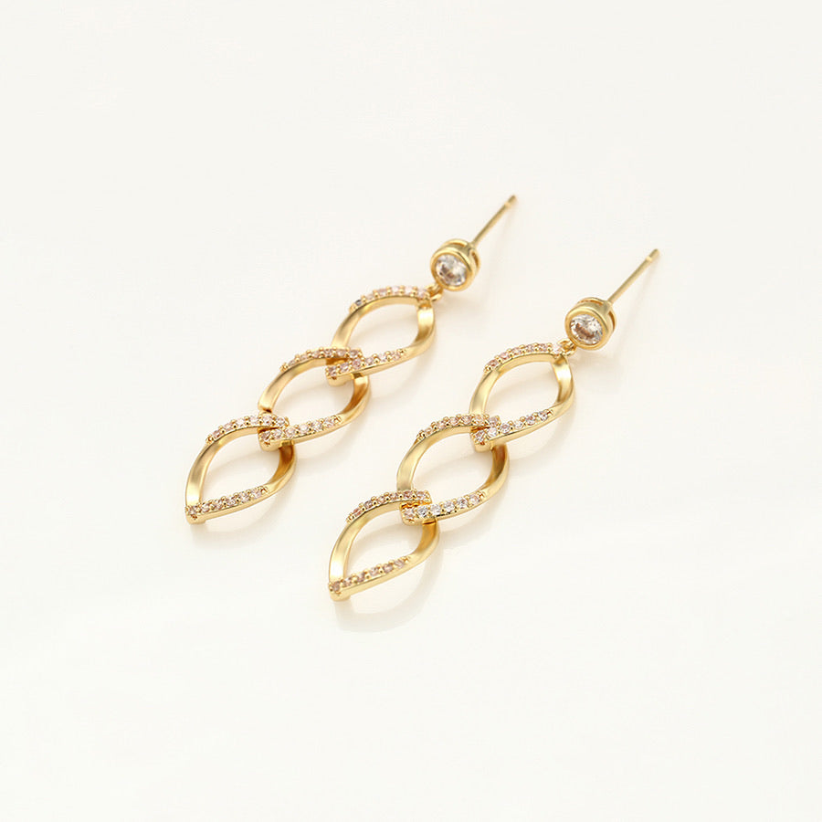 14K Gold Plated Cz Diamond Drop Earring