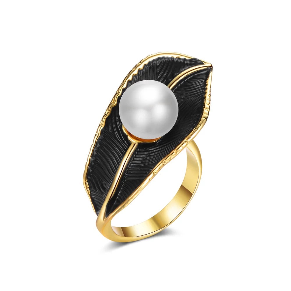 18K Gold Plated Leaf & Pearl Ring