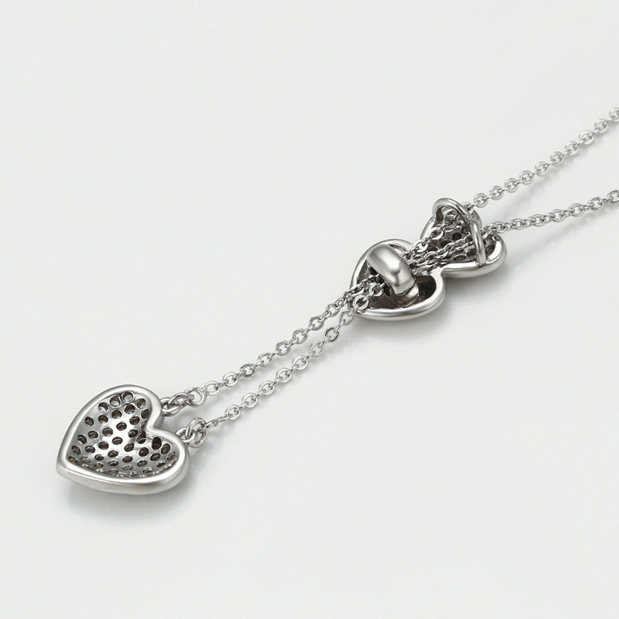 Rhodium Plated Cz Diamond Hearts Necklace