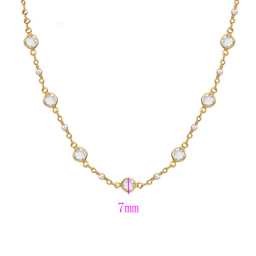 14K Gold Plated Pearl & CZ Diamond Necklace