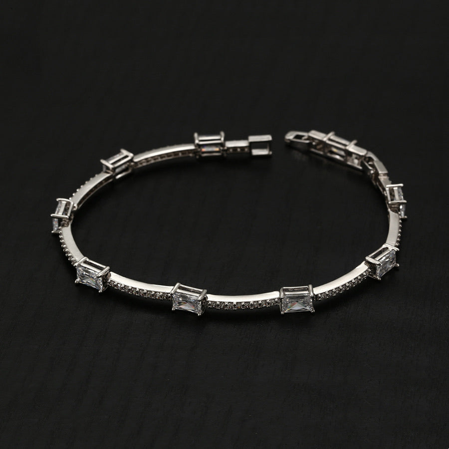 Elegant Rhodium Plated Cz Diamond Bracelet