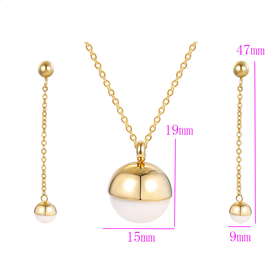 24K Gold Plated New Pearl Earring & Necklace Set