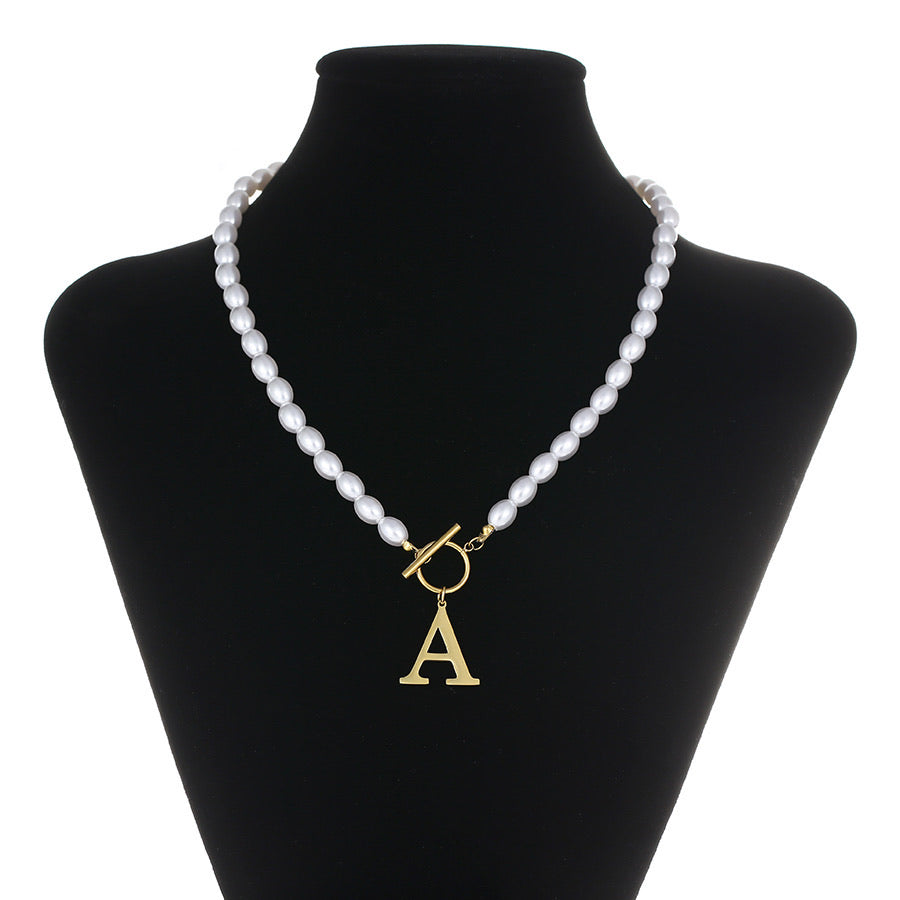 Elegant 14K Gold Plated Initial A pearl Necklace