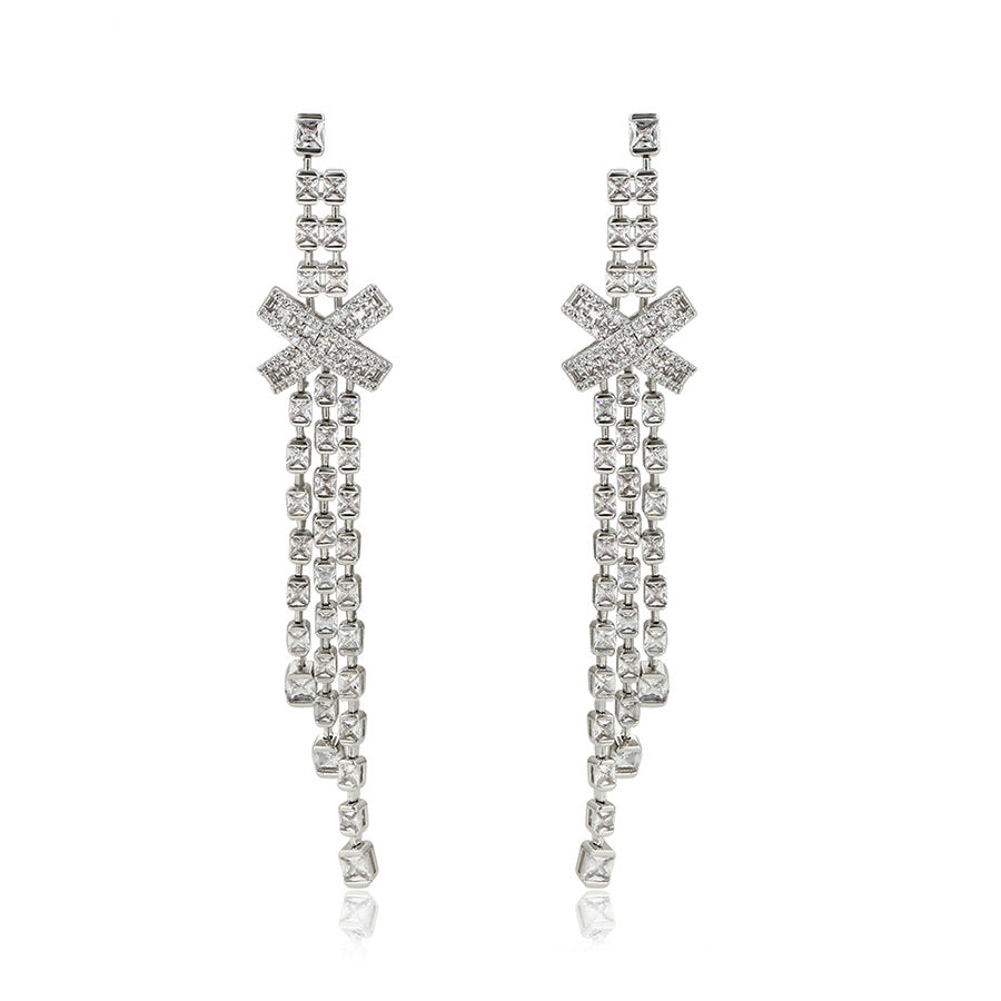 Rhodium Plated Full Cz Diamond Bow Tassel Earring
