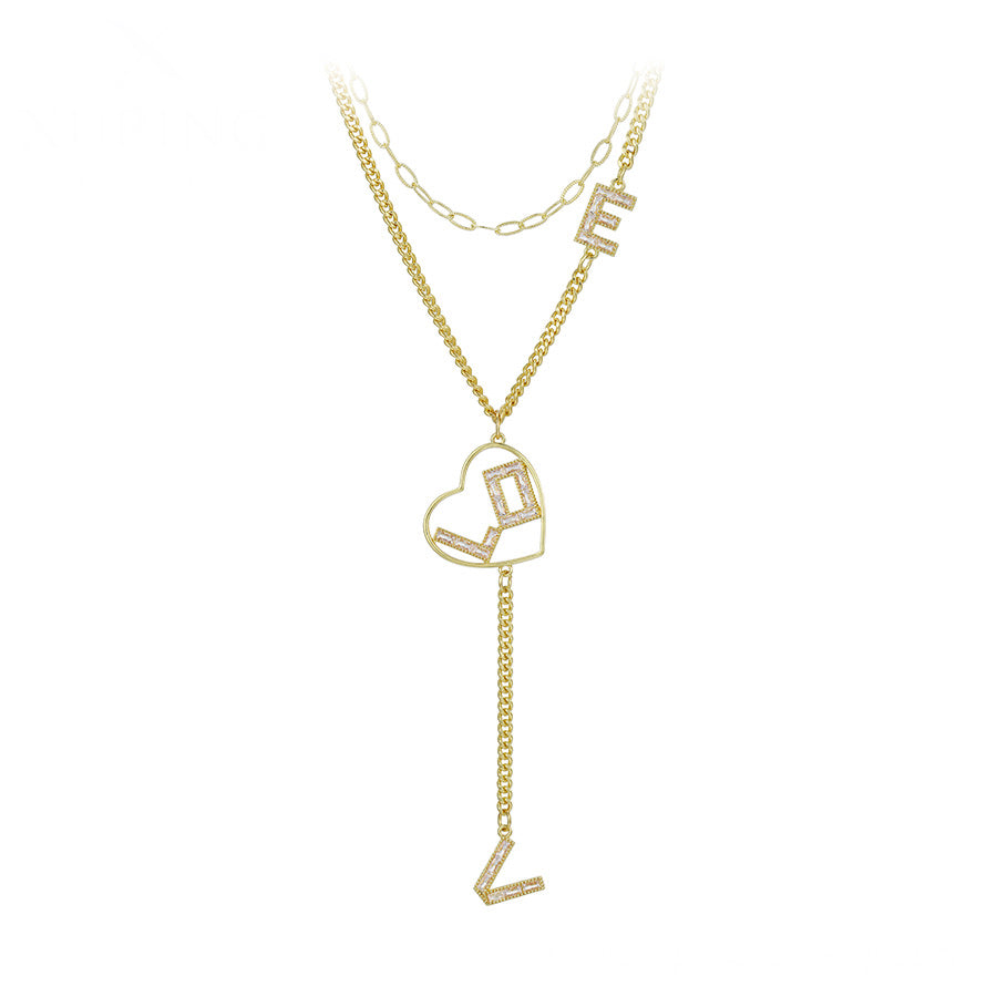 14K Gold Plated Cz Diamond Love & Heart Layered Necklace