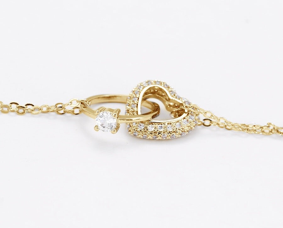 14K Gold Plated Diamond Heart & Ring Engage Necklace