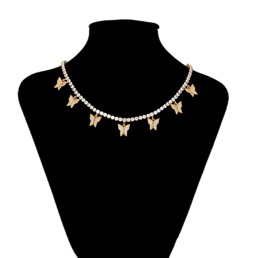 Elegant Diamond Butterfly 18K Gold Plated Tennis Chain Luxury Necklace