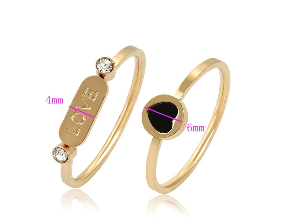 14K Gold Plated Love Rings