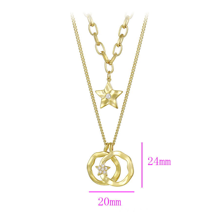 Elegant Design Diamond Star 14K Gold Plated Layered Necklace