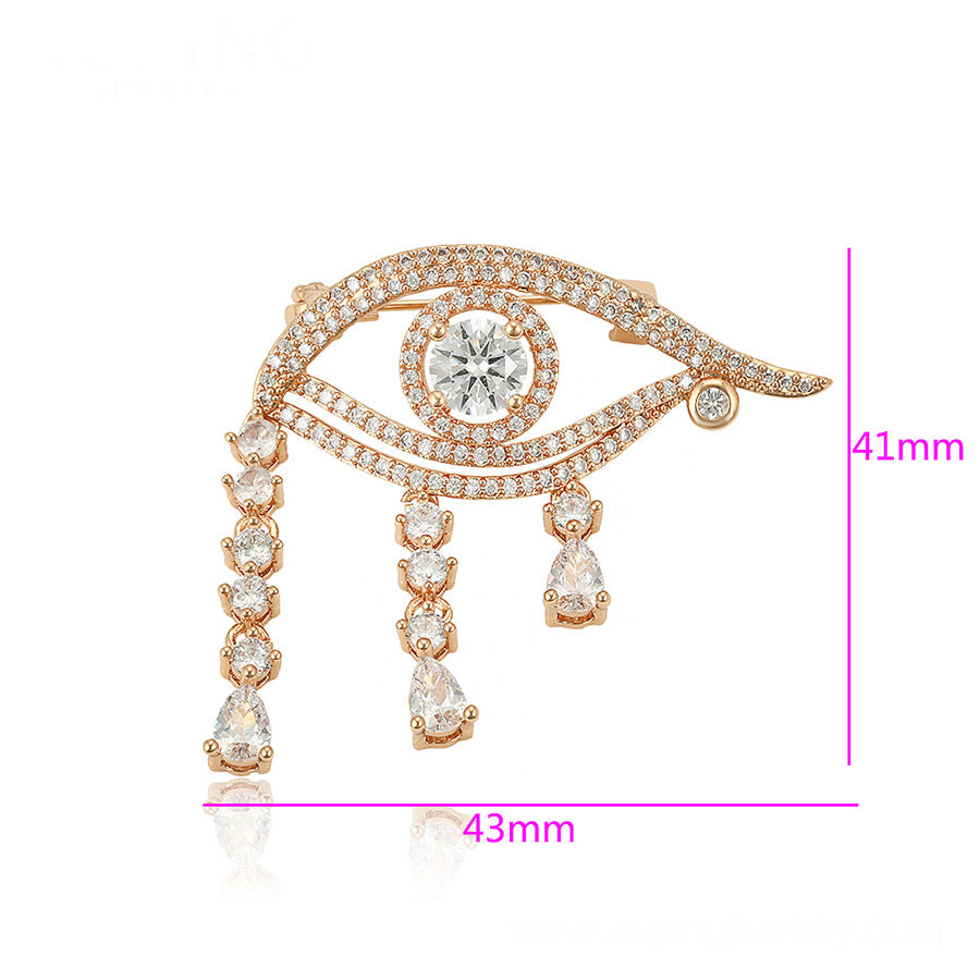 18K Gold Plated Diamond  Eye Brooch