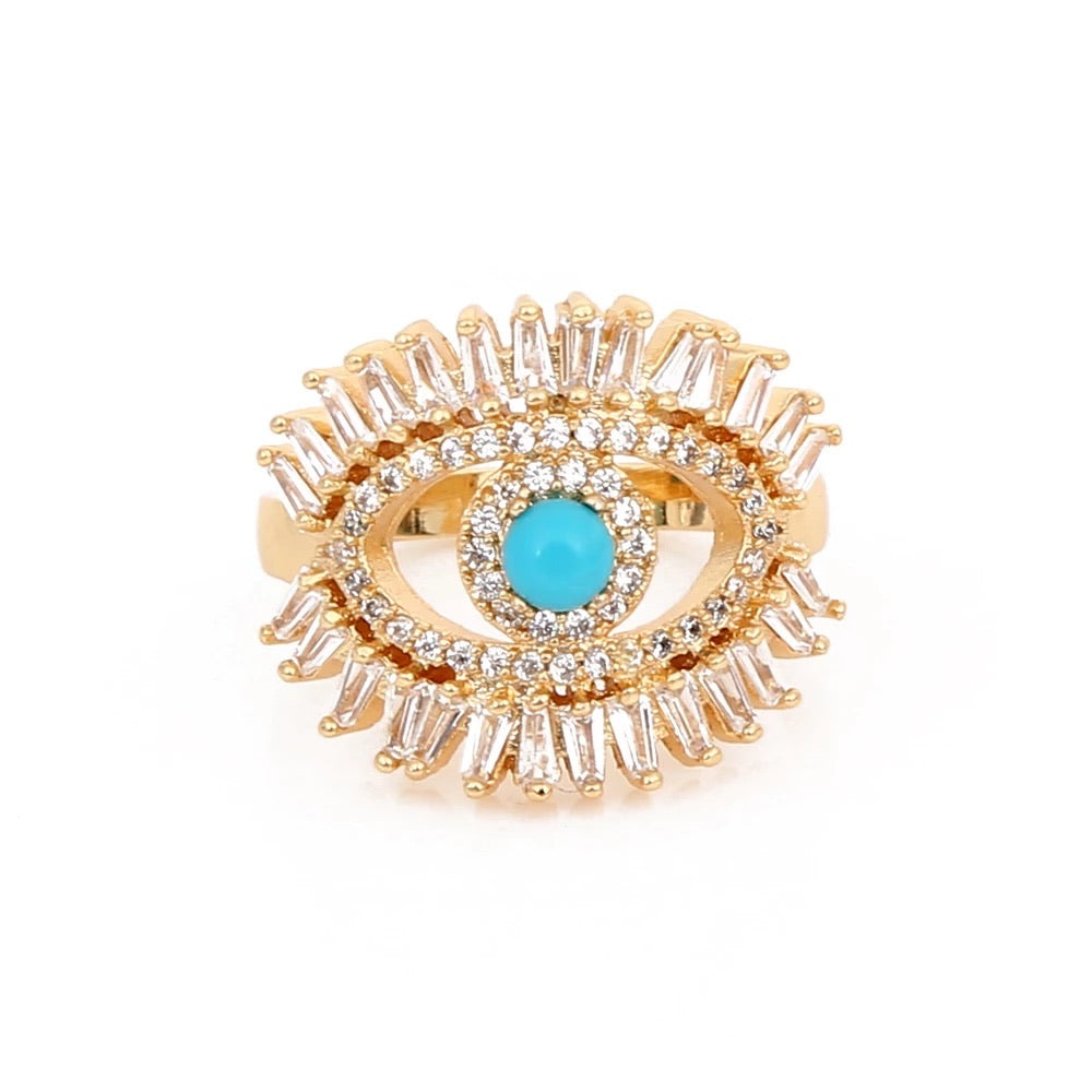 Elegant Gold Filled Crystal Eye , Turquoise Ring