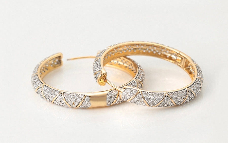 Elegant Gold plated Cz Diamond Hoop Earring