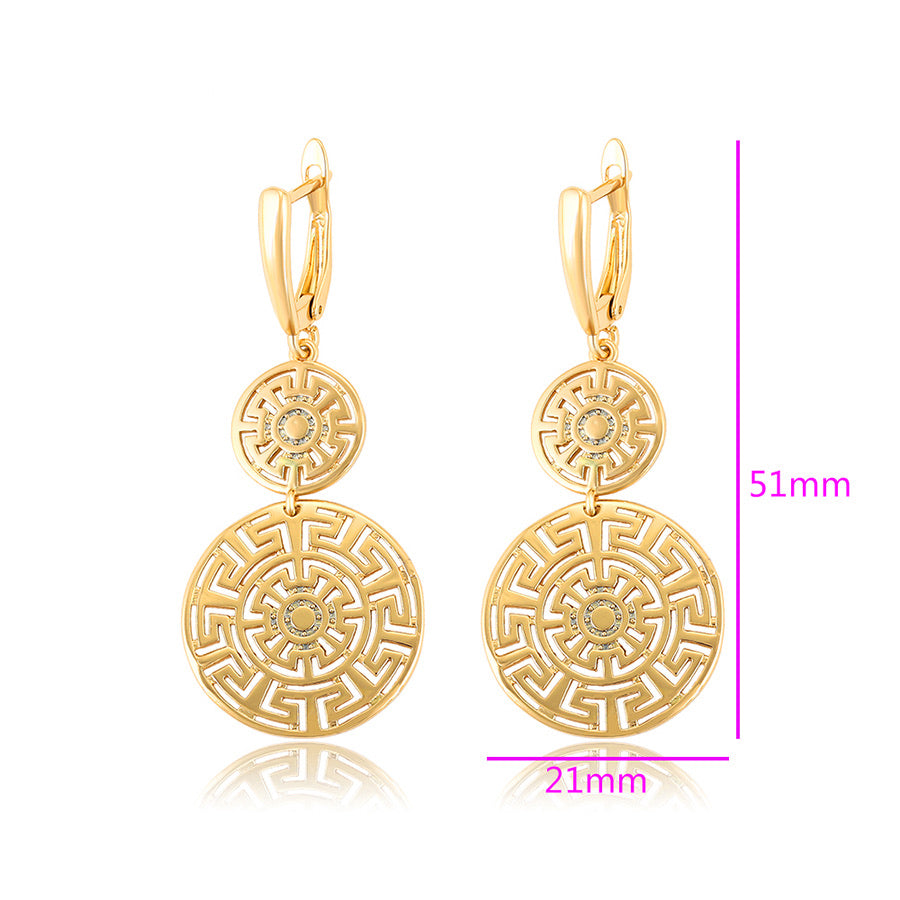24K Gold Plated Greek Key Cut Earring