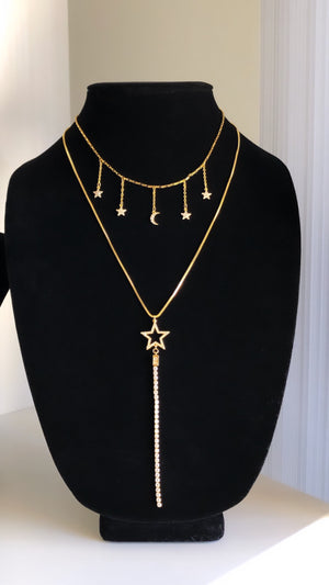 Elegant 24K Gold Plated Layered Necklace