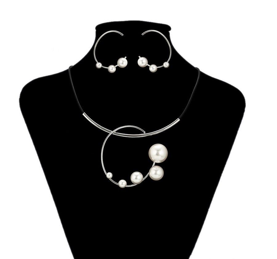 Fashion Floating Pearl  Handmade Necklace & Earring Set